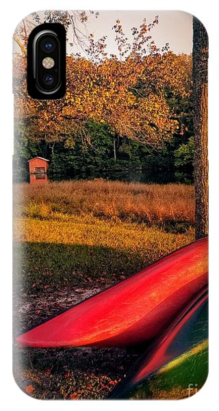 IPhone Case featuring the pyrography Canoes And A Boathouse by Rachel Hannah