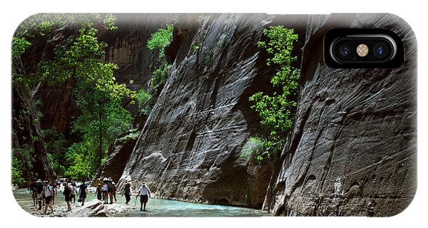Rock Formation iPhone Case - Canyoning In The Narrows, Zion Canyon by Lpedan