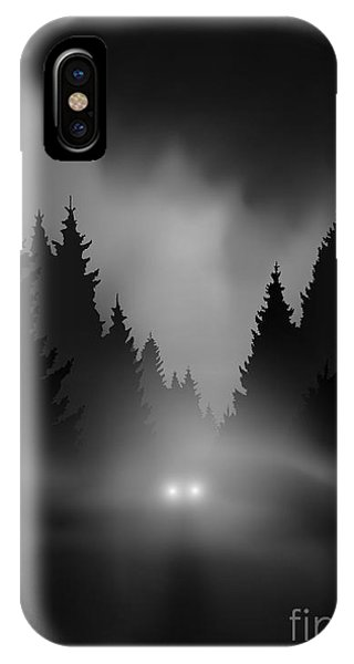 Shadow iPhone Case - Car On Dark Road At Night Through Misty by Andreiuc88