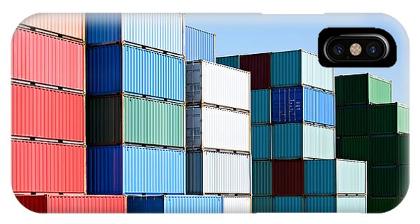 Global iPhone Case - Cargo Shipping Containers Stacked At by Sascha Burkard