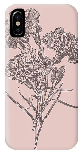 Bouquet iPhone X Case - Carnations Bush Pink Flower by Naxart Studio