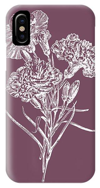 Bouquet iPhone X Case - Carnations Purple Flower by Naxart Studio