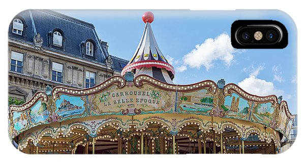 IPhone Case featuring the photograph Carousel At The Hotel De Ville - Paris, France by Melanie Alexandra Price