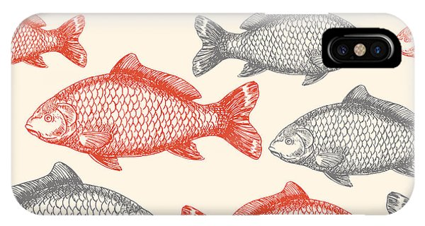 Old Fashioned iPhone Case - Carp Fish Asian Style Seamless Pattern by Adehoidar