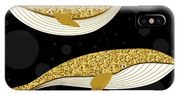 Fins iPhone Case - Cartoon Abstract Whale Set. Golden by Vanillamilk