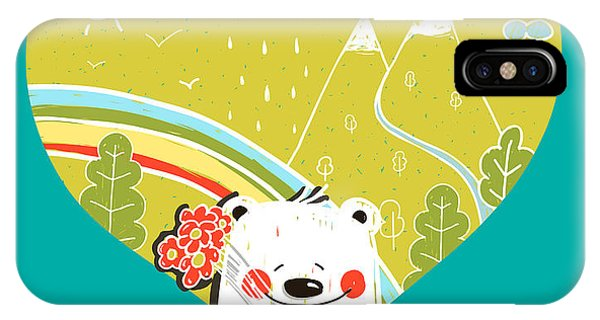 Drawn iPhone Case - Cartoon Baby Bear With Nature Heart by Popmarleo