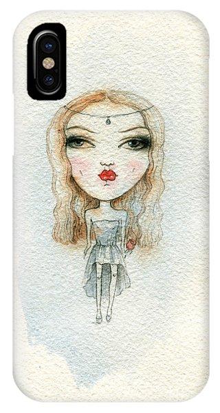 Red Hair iPhone X Case - Cartoon Cute Child Girl  . Watercolor by Anna Ismagilova
