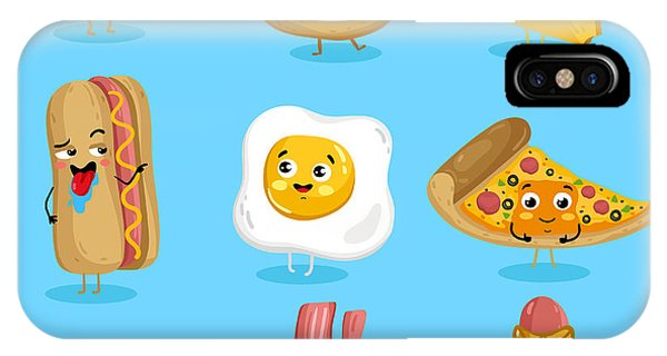 Eggs iPhone Case - Cartoon Funny Fast Foods Characters by Studioworkstock