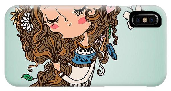 Fairy iPhone Case - Cartoon Girl With Long Hairs by Elena Barenbaum