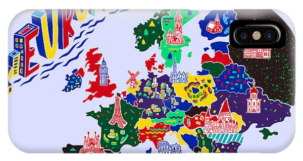 Columns iPhone Case - Cartoon  Map Of Europe. Travels by Daria i
