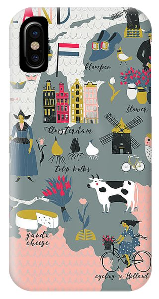 Cartoon Map Of Holland With Legend Icons Phone Case by Lavandaart