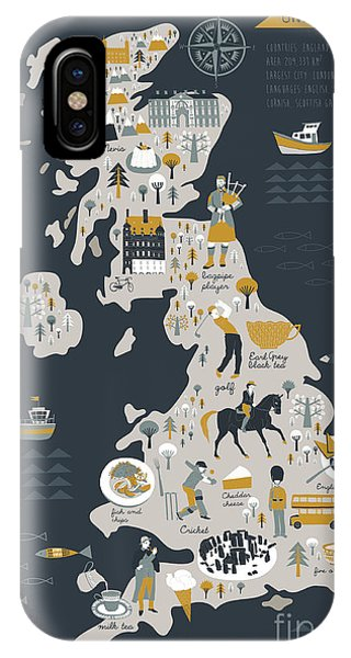 Fork iPhone Case - Cartoon Map Of United Kingdom With by Lavandaart