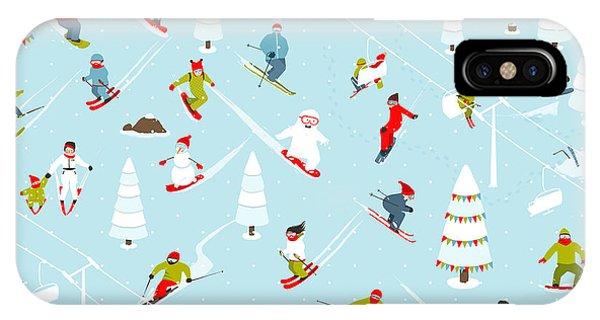 Winter Fun iPhone Case - Cartoon Mountain Ski Resort Seamless by Popmarleo