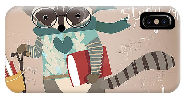 Students iPhone Case - Cartoon Raccoon On Scooter by Elena Barenbaum
