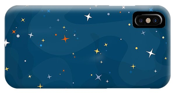 Space iPhone Case - Cartoon Space Background With Colorful by Elena Eskevich
