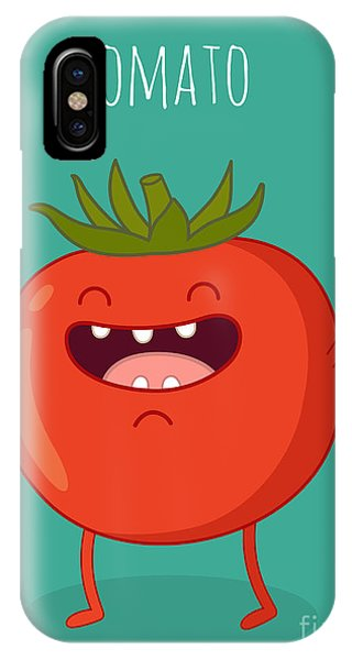 Ingredient iPhone Case - Cartoon Tomato With Eyes And Smiling by Serbinka