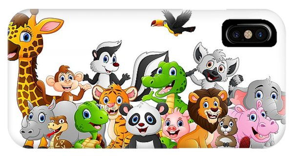 Bat iPhone X Case - Cartoon Wild Animals Background by Dualororua