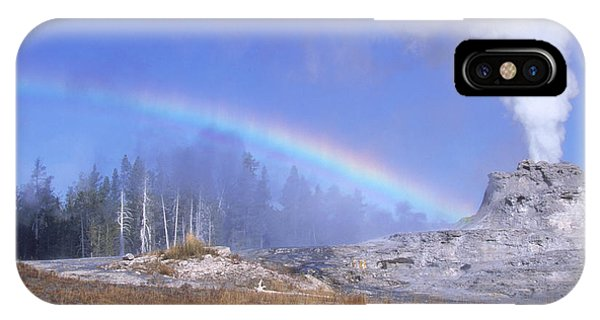 Castle Geyser And Rainbow Phone Case by David Hosking