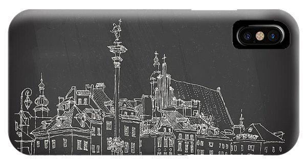 Sketch Pen iPhone Case - Castle Square In Old Center Of Warsaw by Babayuka