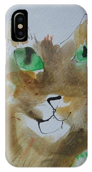 Cat Face Yellow Brown With Green Eyes IPhone Case