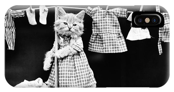 Novelty iPhone Case - Cat Hanging Laundry On Clothesline - Harry Whittier Frees by War Is Hell Store