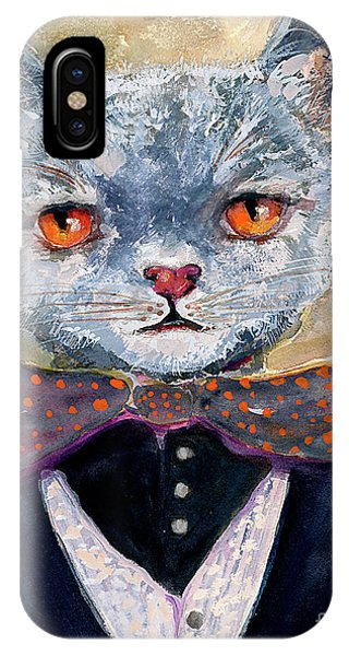 IPhone Case featuring the painting Cat Portrait Einstein by Ginette Callaway