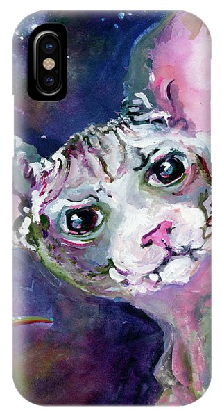 IPhone Case featuring the painting Cat Portrait My Name Is Luna by Ginette Callaway