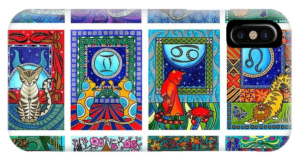 Cat Zodiac Paintings  IPhone Case