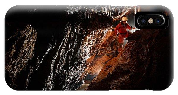 Man Cave iPhone Case - Cave Explorer, Speleologist Exploring by Salajean