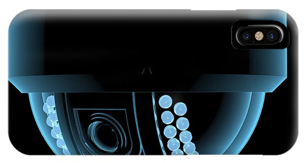 Danger iPhone Case - Cctv Surveillance Camera X-ray Blue by X-ray Pictures
