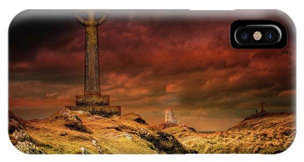 Celtics iPhone Case - Celtic Cross Llanddwyn Island by Adrian Evans