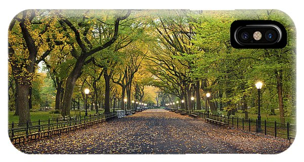 Park Bench iPhone Case - Central Park. Image Of  The Mall Area by Rudy Balasko