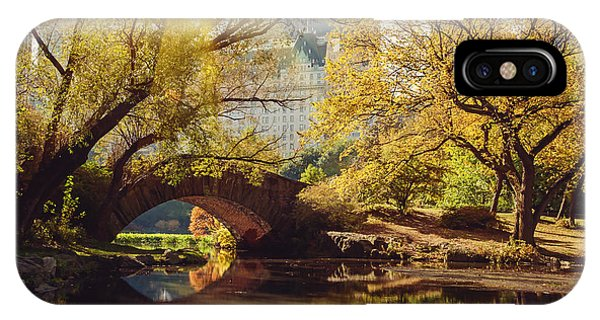 Travel Destination iPhone Case - Central Park Pond And Bridge. New York by Maglara