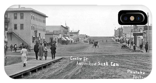 China Town iPhone Case - Centre Street Assiniboia  Sasketchewan  Ca  1915 by Celestial Images