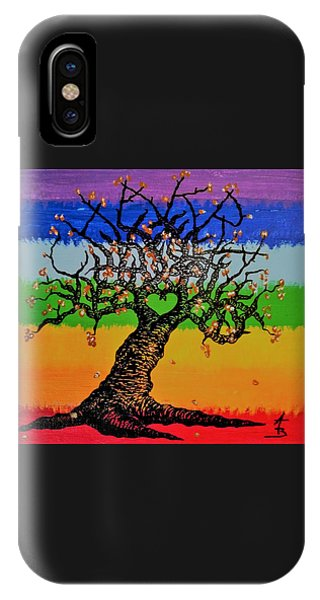 IPhone Case featuring the drawing Chakra Love Tree by Aaron Bombalicki