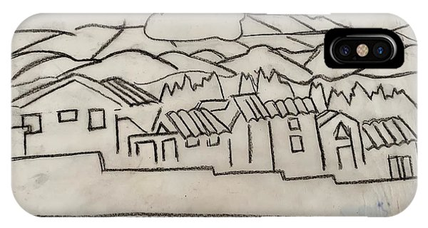 Charcoal Houses Sketch IPhone Case