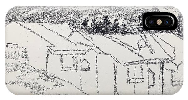 Charcoal Pencil Houses1.jpg IPhone Case