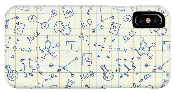Sketch Pen iPhone Case - Chemistry Doodles Seamless Pattern by Angelinast
