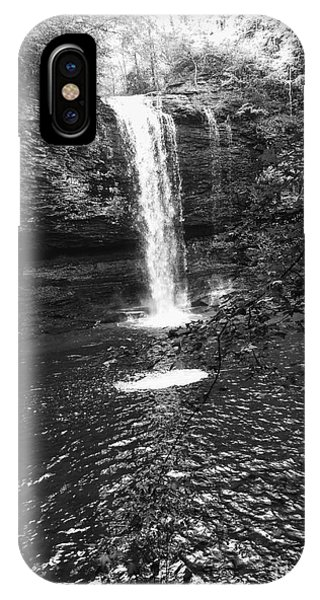 IPhone Case featuring the photograph Cherokee Falls Bnw by Rachel Hannah