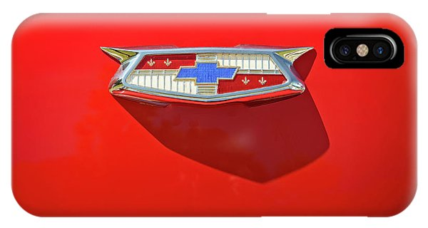 Vehicles iPhone Case - Chevrolet Emblem On A 55 Chevy Trunk by Scott Norris