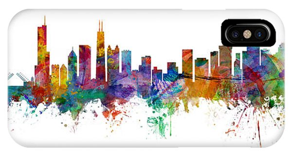 Seattle iPhone X Case - Chicago And Seattle Skylines Mashup by Michael Tompsett