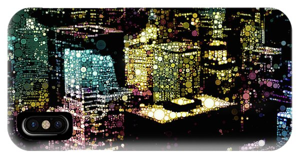 IPhone Case featuring the mixed media Chicago City Lights by Susan Maxwell Schmidt