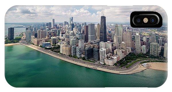 Chicago Skyline Art iPhone Case - Chicago Gold Coast Aerial Panoramic by Adam Romanowicz