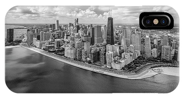 Chicago Skyline Art iPhone Case - Chicago Gold Coast Aerial Panoramic Bw by Adam Romanowicz