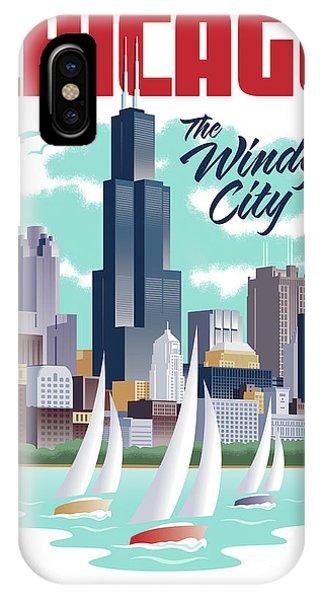 Chicago Art iPhone Case - Chicago Poster - Vintage Travel by Jim Zahniser