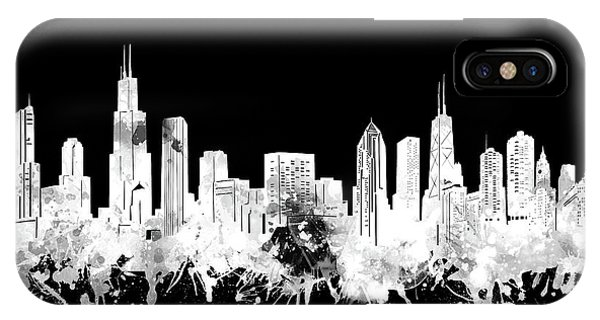 Chicago Art iPhone Case - Chicago Skyline Black And White 2 by Bekim M