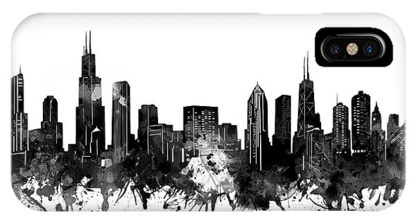 Chicago Art iPhone Case - Chicago Skyline Black And White by Bekim M