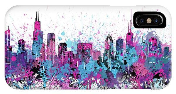 Chicago Art iPhone Case - Chicago Skyline Color Splatter by Bekim M