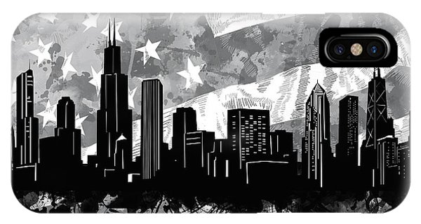 Chicago Art iPhone Case - Chicago Skyline Flag by Bekim M