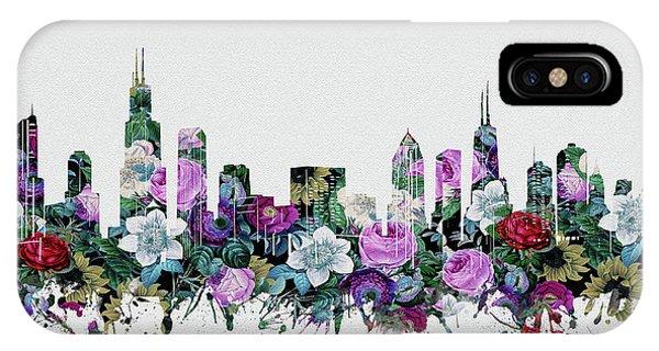 Chicago Art iPhone Case - Chicago Skyline Floral by Bekim M